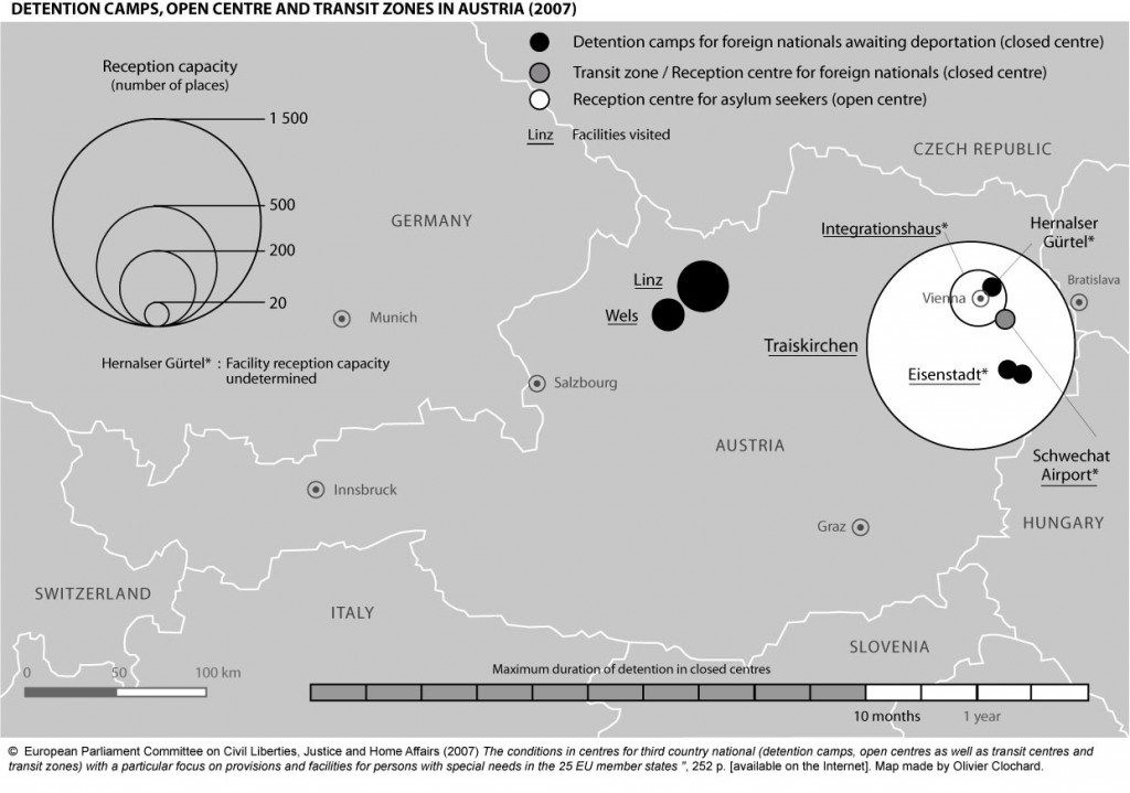 Detention camps, open centres and transit zones in Austria