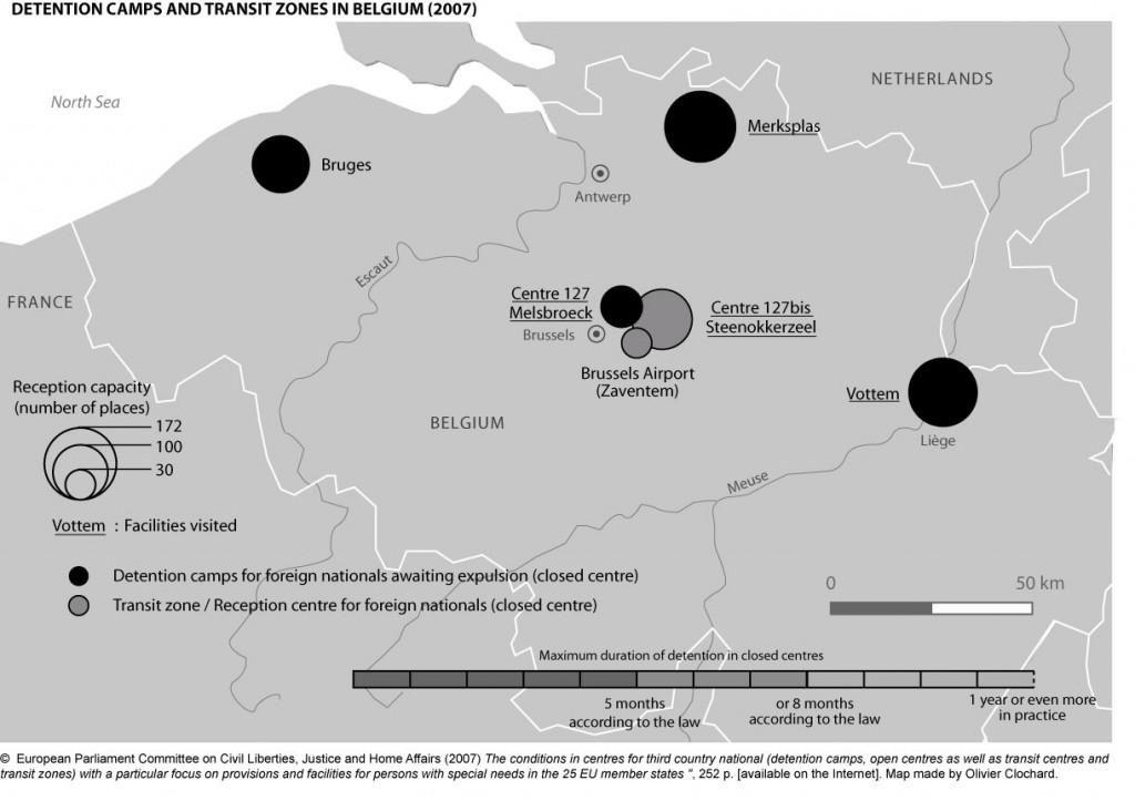 Detention camps and transit zones in Belgium