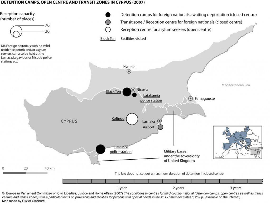 Detention camps, open centres and transit zones in Cyprus