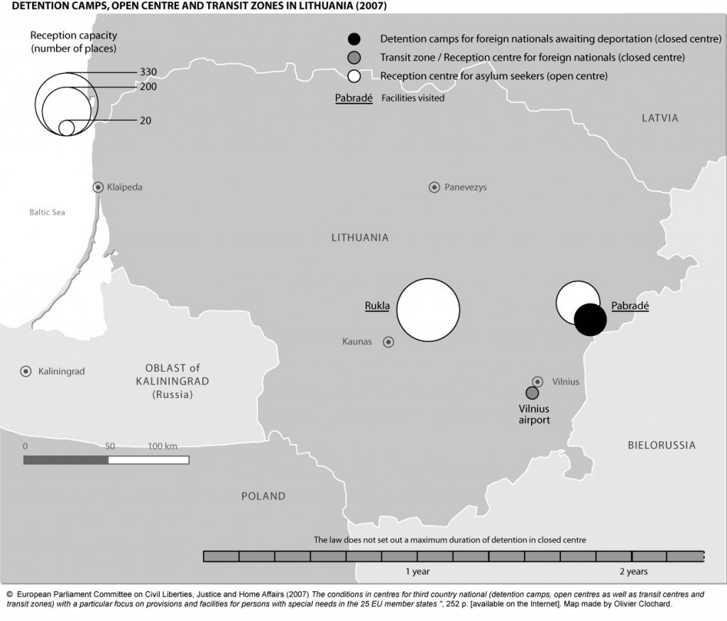Detention camps, open centres and transit zones in Lithuania