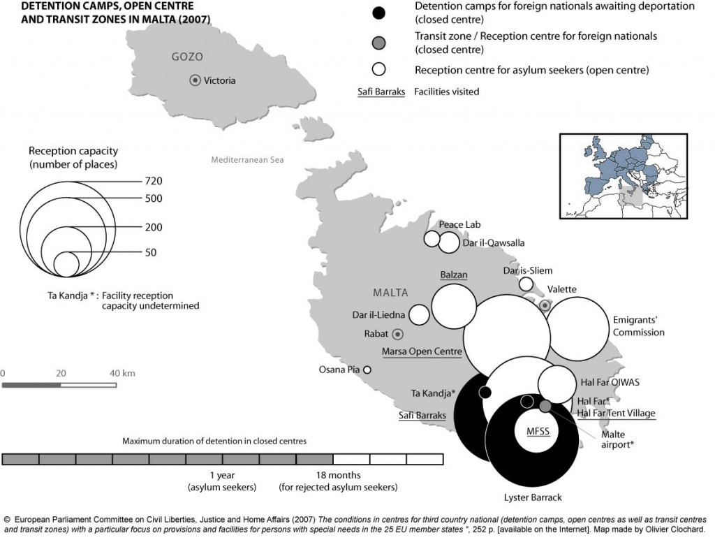 Detention camps, open centres and transit zones in Malta