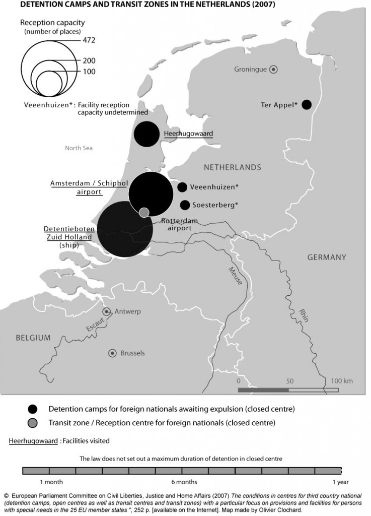 Detention camps and transit zones in the Netherlands