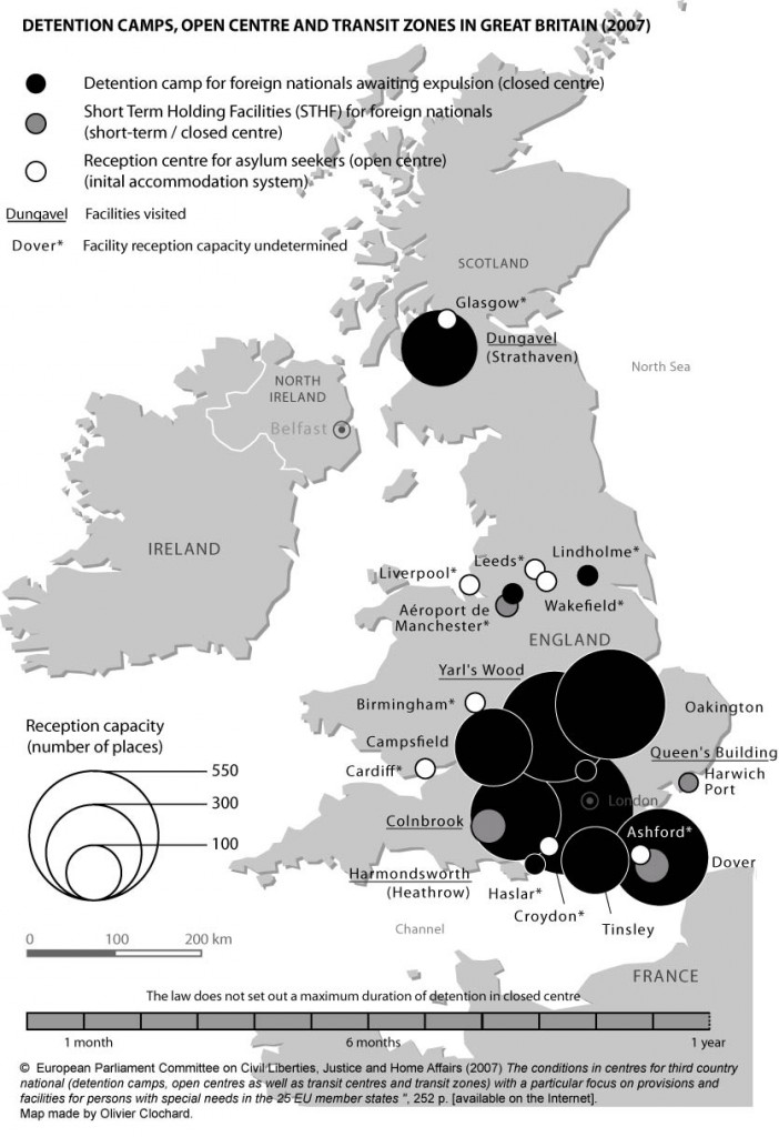 Detention camps, open centres and transit zones in Great Britain