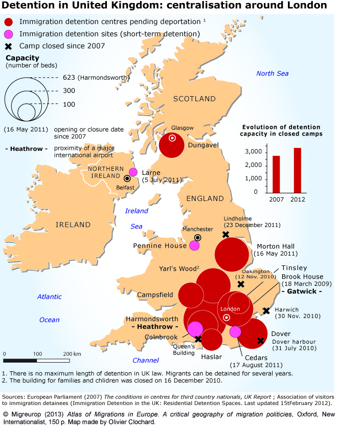 Immigration detention centres in UK